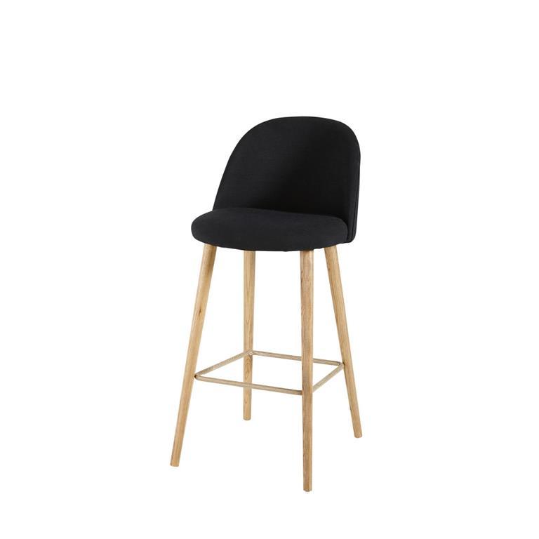 chaise de bar vintage noire et frene