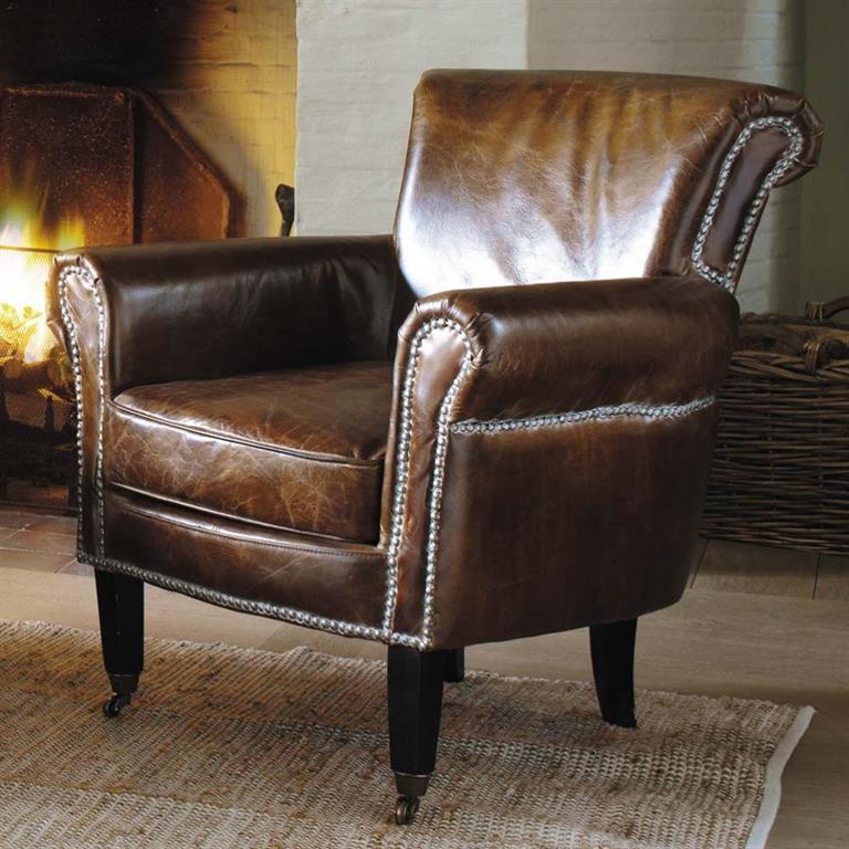 fauteuil en cuir marron effet vieilli cambridge