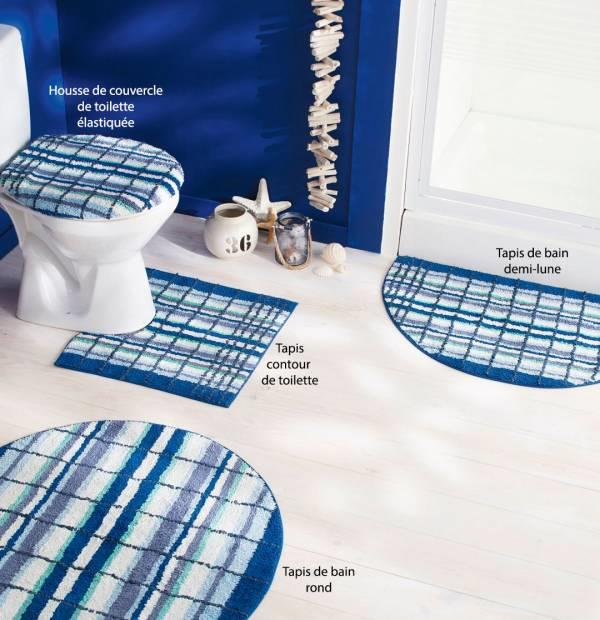 tapis de bain rond bleu du sud