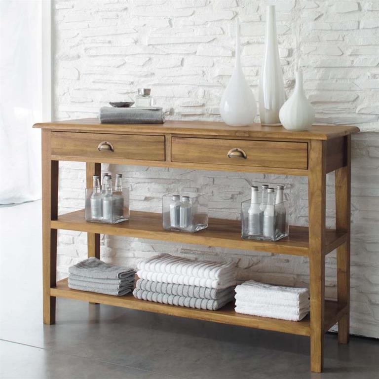 table console en teck massif l 120 cm