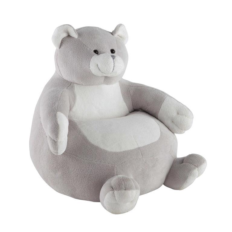 fauteuil enfant en tissu gris ourson