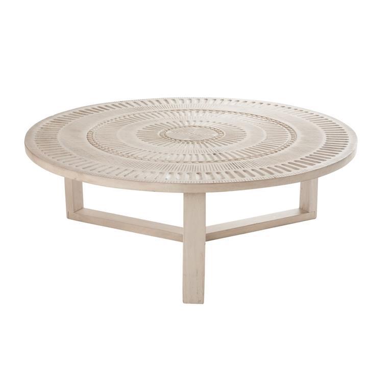 table basse ronde en bois de manguier