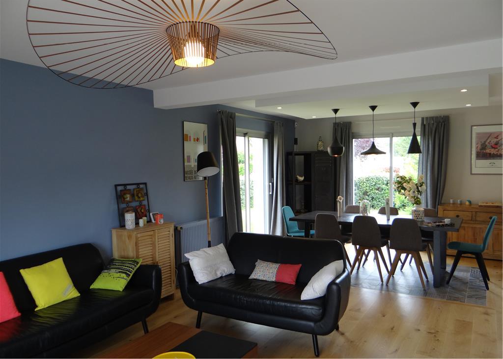 Stunning Image Salon Avec Parquet Et Mur Bleugris With