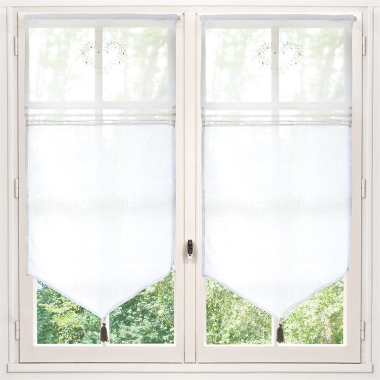 rideau court en coton blanc 60x120