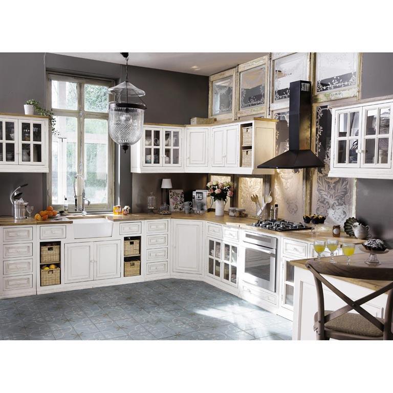 meuble bas d angle de cuisine ouverture droite en manguier ivoire l133 eleonore