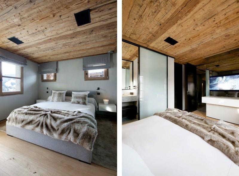 Chambre  coucher ambiance montagne avec lambris au plafond