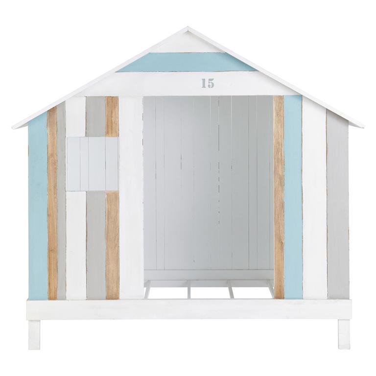 lit cabane enfant 90x190 blanc et bleu