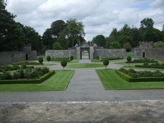 Restored gardens at Portumna Castle