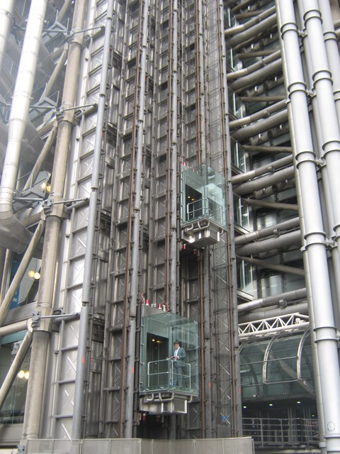 Outside lifts on Lloyds Building  David Anstiss ccbysa