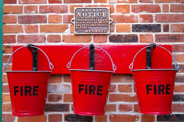 Fire Buckets Holt Station Norfolk  Christine Matthews