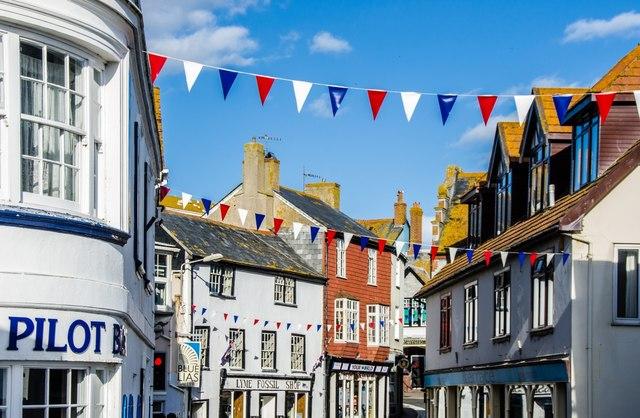Lyme Regis: Bunting in Broad Street