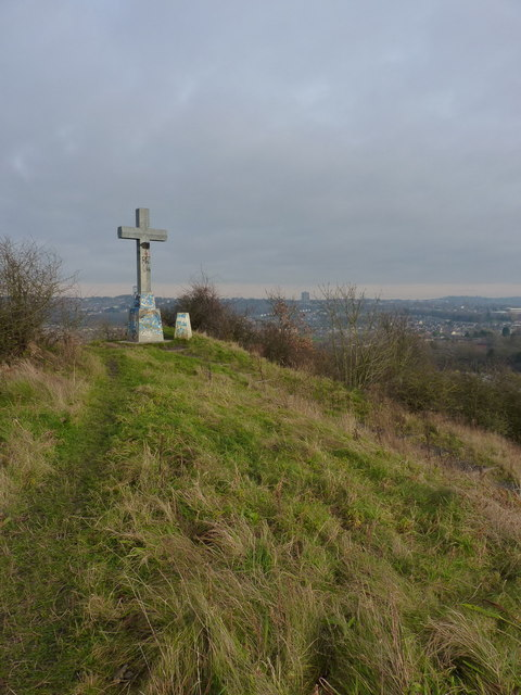Cross and trig on Barrow Hill  Richard Law  Geograph