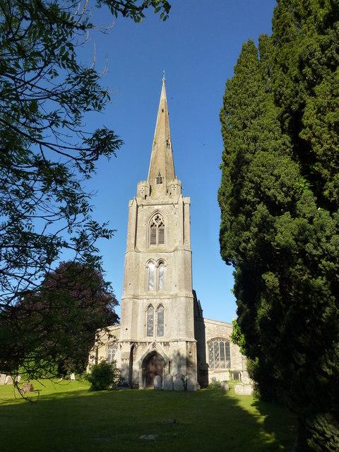 The spire of St Leonard's church in © Richard Humphrey