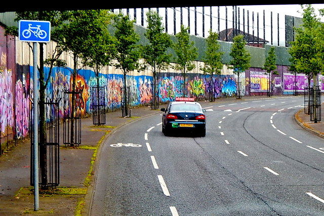 "Belfast -"" Peace Line"" along Cupar Way between Falls & Shankill Road Areas"