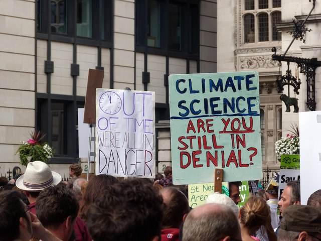 Placards Climate Change demonstration  Julian Osley