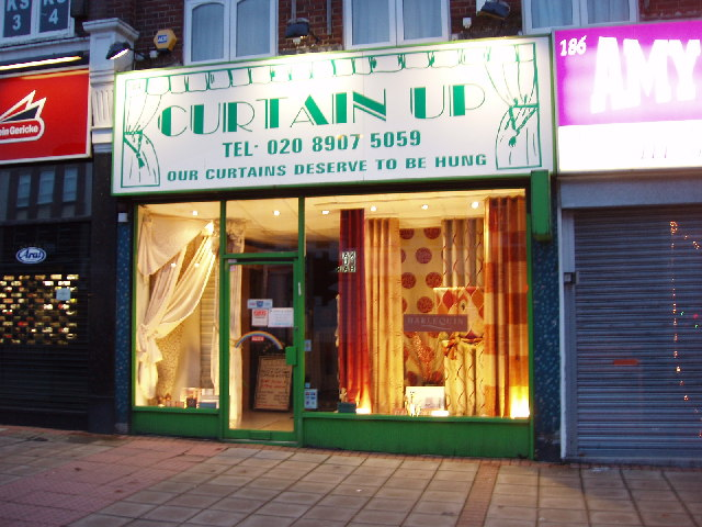 Curtain shop in Kenton lit up at night  David Hawgood  Geograph Britain and Ireland