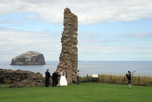A wedding ceremony at Tantallon Castle