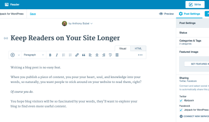 Use the WordPress.com editor to publish your content