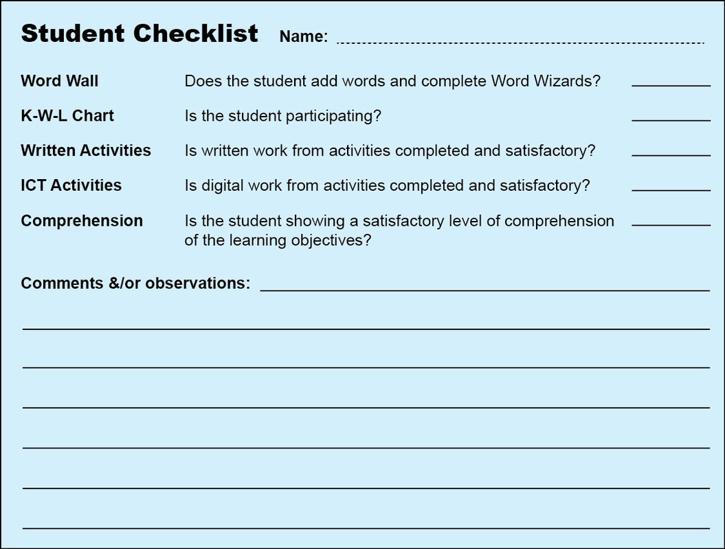 Students Checklist For The Teacher To Use With Formative Assessment.