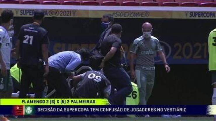Supercopa do Brasil é marcada por confusão entre jogadores de Flamengo e Palmeiras no túnel para os vestiários