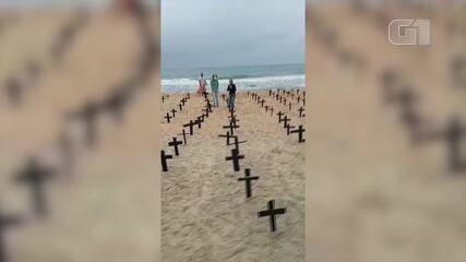 Macaé, RJ, registra ato em homenagem às vítimas da Covid-19 neste 1º de maio