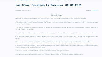 Bolsonaro publishes 'Declaration to the Nation'