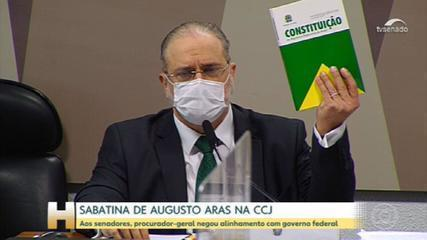 Augusto Aras sat in the Senate seeking a new term at the PGR