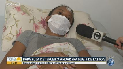 Nanny who threw herself from the 3rd floor of a building in Salvador reports the moment of the aggression