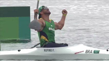 Historic!  Fernando Rufino wins the first Brazilian gold in paracanoeing!