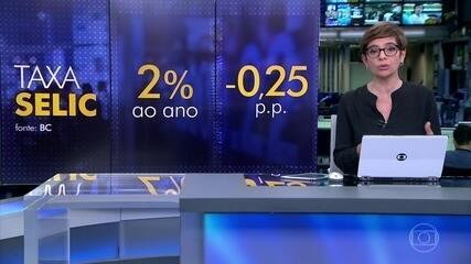 Banco Central baixa para 2% ao ano a Selic