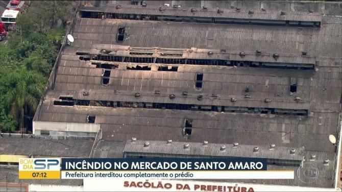 Após incêndio, prefeitura interdita pédio do Mercado Municipal de Santo Amaro
