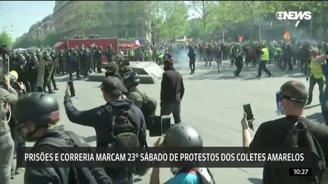 Prisões e correria marcam 23º protesto dos 'Coletes Amarelos' na França