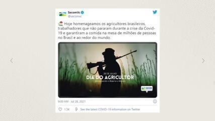 Após críticas, governo exclui publicação com homem armado em homenagem ao Dia do Agricultor