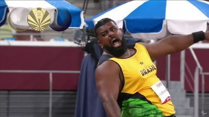 It's GOLD!  Thiago Paulino throws 15.10m on the second attempt and secures the medal in the F57 shot put - Tokyo Paralympics