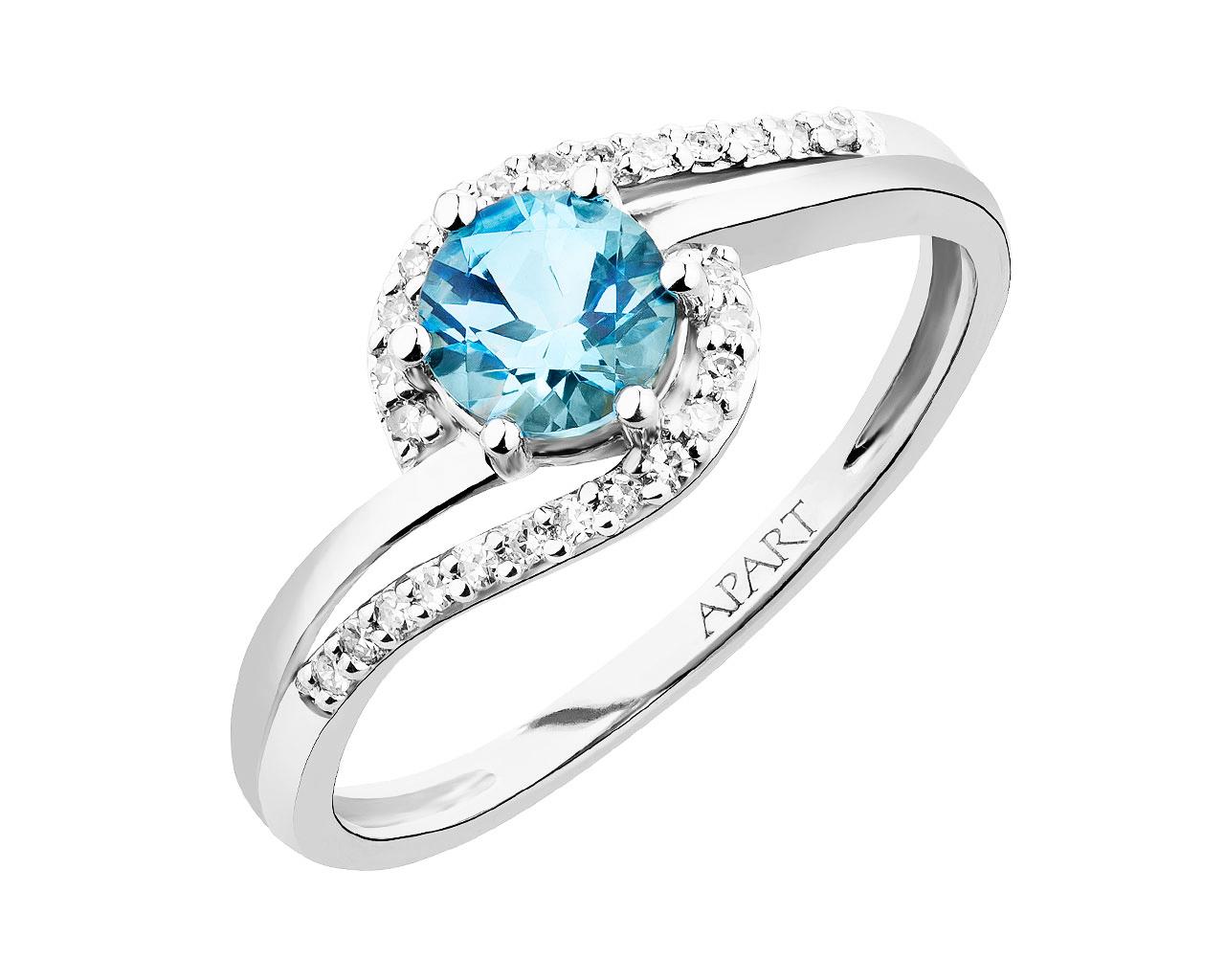 Ring aus Weissgold mit Diamanten und Topas Artelioni