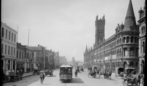 The clock tower and spires over looking Melbourne's market (credit: courtesy of State Library of Victoria).