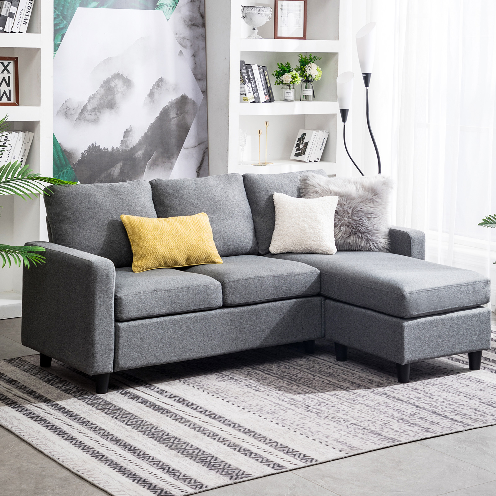 Meet johnny grey every item on this page was curated by an elle decor editor. Grey Sectional Sofa L-Shaped Couch W/Reversible Chaise for ...