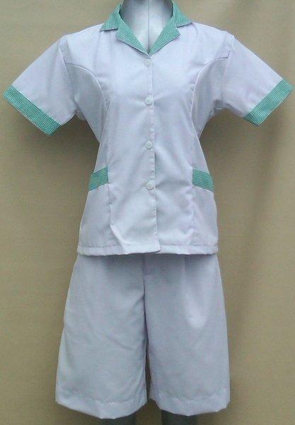 Baju Suster / Seragam Baby Sitter Celana Kulot Putih Variasi Hijau Kotak-Kotak