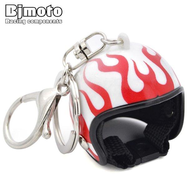 Mini Motocross Helmet Key Chain Small Tintin Hat Flame Motorcycle Cap Helmets Keychains For Girl