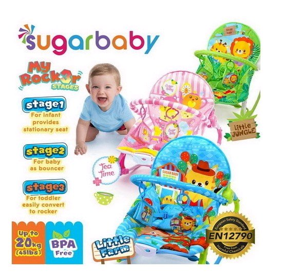 Bouncer Sugar baby my rocker 3 stage kursi goyang bayi LITTLE FARM TEA TIME LITTLR JUNGGLE