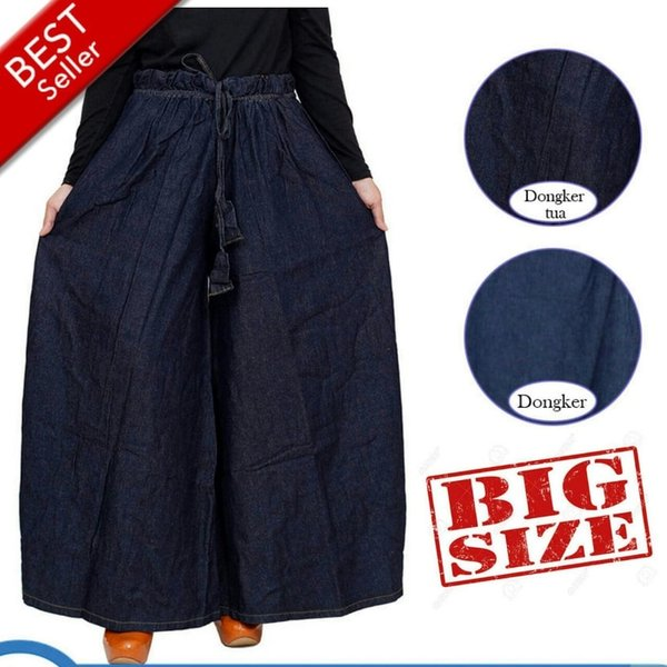 Best Seller Celana Kulot Jumbo Celana Panjang Jeans Muslimah