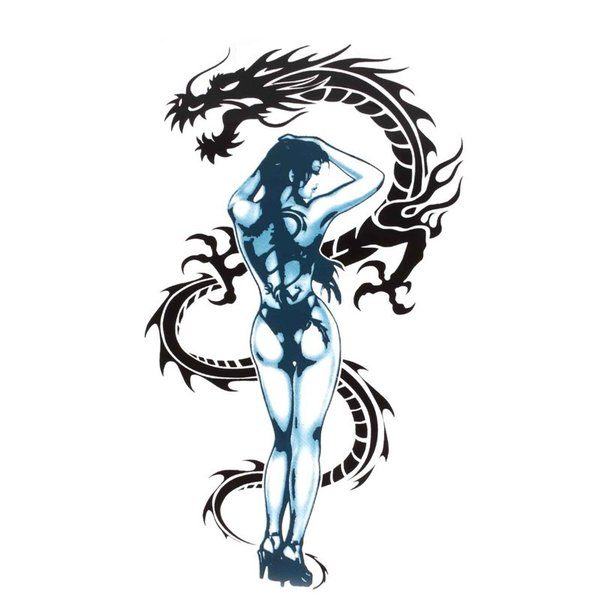 Jual 1pcs Sexy Tattoo Girl and Dragon Motorcycle Decal Sticker for Motorcycle Motorbike Helmet Window