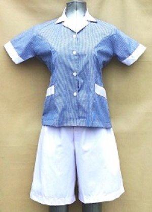 Baju Suster / Seragam Baby Sitter Celana Kulot Putih Baju Biru Tua Kotak-Kotak Variasi Putih