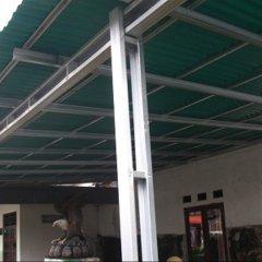 Baja Ringan Teras Rumah Jual Canopi Atap Gogreen Minimalis Tiang Double 18 M2
