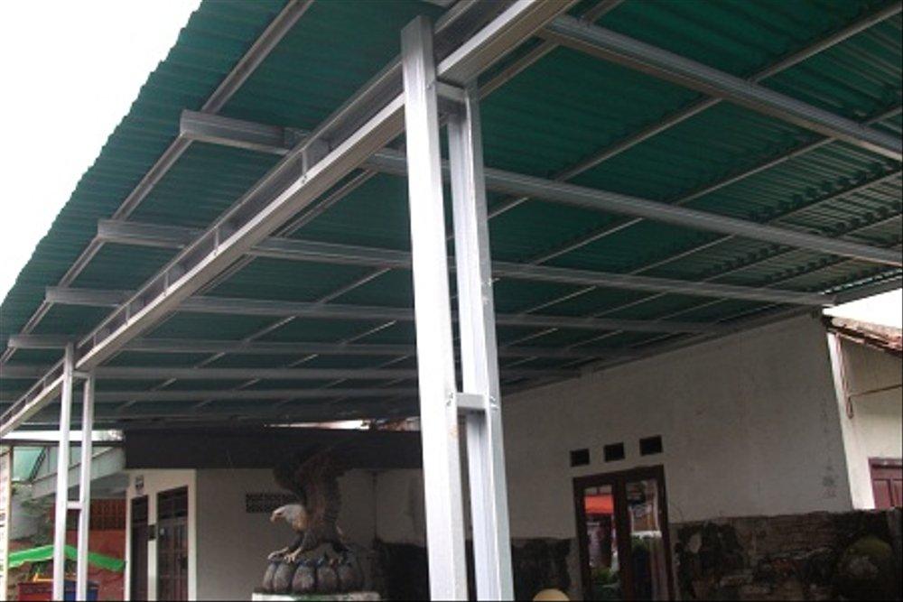 contoh atap baja ringan rumah minimalis jual canopi gogreen tiang double 18 m2