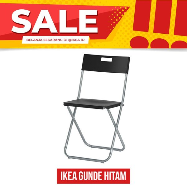 IKEA GUNDE Kursi lipat hitam BEST FURNITURE