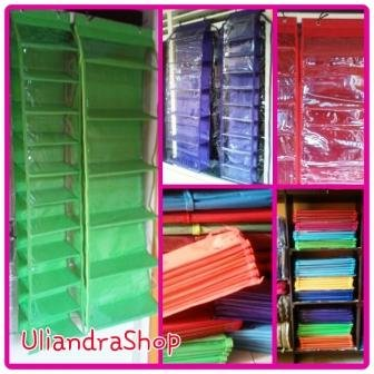 Rak Sepatu Gantung dan Rak Tas Gantung Set Resleting Hanging Shoes Organizer and Hanging Bag Organizer Set Zipper Polos Warna (HSOZ HBOZ SET)