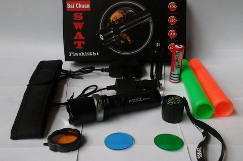 FLASHLIGHT SENTER POLICE SWAT 99000 WATT KOMPAS ZOOM RECHARGEABLE BEST QUALITY