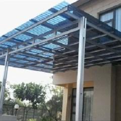 Canopy Baja Ringan Minimalis Kanopi Atap Solartuff Model Tiang Double