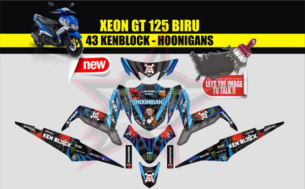 STICKER STRIPING STIKER MOTOR XEON GT 125 Qlty.A FULL BODY HOONIGAN